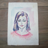 Acuarela semnata Elena Tamas, 1986 cu dedicatie pentru d-na Pipas.REDUCERE! - Pictor roman