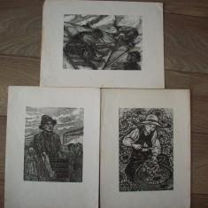 Linogravura SZABO BELA, trei lucrari dintr-un album al acestui artist.REDUCERE! - Pictor strain, Scene gen, Cerneala, Altul