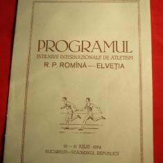 Program -  Intalnirea  Atletism RPR-Elvetia1954 ,adnotari , rezultate