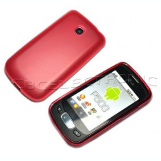 Husa silicon rosie LG OPTIMUS ONE P500 + folie protectie ecran