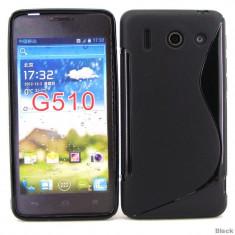 Husa neagra silicon S Line calitate A* Huawei Ascend G510 + folie - Husa Telefon Huawei, Negru