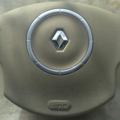 Airbag Volan Renault Megane 2 crem bej pentru pilot cu ornament cerc crom - Airbag auto, MEGANE II limuzina (LM0/1_) - [2003 - 2009]