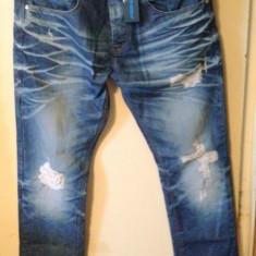 Blugi Jeansi Jeans Barbati Men Rupti Slim Straight Fit Marca Fishbone FSBN NOI - Blugi barbati, Marime: 34, Culoare: Albastru, Lungi, Cu rupturi, Slim Fit