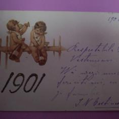 Carte postala, lucrata manual, nesemnata, de la 1901.REDUCERE!