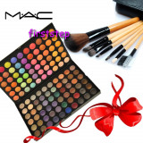 Trusa machiaj profesionala 120 culori MAC + set 7 pensule make-up  cu borseta, Mac Cosmetics
