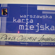 CARD ELECTRONIC - NOMINAL - WARSZAWSKA KARTA MIEJSKA - POLONIA . - Card Bancar