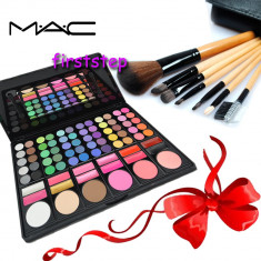 Trusa machiaj profesionala 78 culori MAC + set 7 pensule make-up cu borseta - Trusa make up