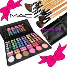Trusa farduri machiaj profesionala 78 culori MAC + set 15 pensule make-up Bobbi Brown par natural - Trusa machiaj Mac Cosmetics