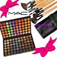 123123Trusa farduri machiaj profesionala 120 culori MAC + set 15 pensule make-up Bobbi Brown par natural