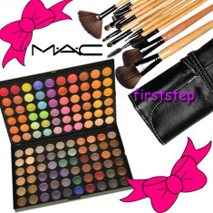 Trusa farduri machiaj profesionala 120 culori MAC + set 15 pensule make-up Bobbi Brown par natural - Trusa make up
