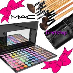Trusa farduri machiaj profesionala 96 culori MAC + set 12 pensule make-up Bobbi Brown par natural - Trusa machiaj Mac Cosmetics