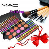 Trusa machiaj profesionala 183 culori MAC + set 7 pensule make-up cu borseta - Trusa make up