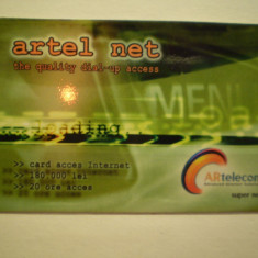 CARD ACCES INTERNET - ARTEL NET - CARTELECOM . - Card Bancar