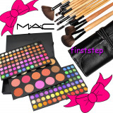 Trusa farduri machiaj profesionala 183 culori MAC + set 12 pensule make-up Bobbi Brown par natural, Mac Cosmetics