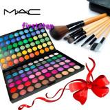 Trusa machiaj profesionala 120 culori MAC + set 7 pensule make-up cu borseta - Trusa make up