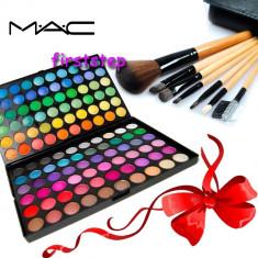 Trusa machiaj Mac Cosmetics profesionala 120 culori MAC + set 7 pensule make-up cu borseta