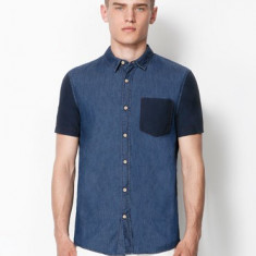 Camasa tricou maneca scurta BERSHKA Originala noua M - Camasa barbati Bershka, M, Albastru