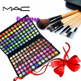 Trusa machiaj profesionala 180 culori MAC + set 7 pensule make-up cu borseta - Trusa make up