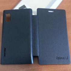 Husa NEAGRA Toc Flip Cover LG Optimus L5 E610 / E612 + Folie Protectie Display CADOU - Husa Telefon