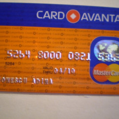 CARD BANCAR - CREDIT EUROPE BANK - CARD AVANTAJ - MASTER CARD - PERSONALIZAT .