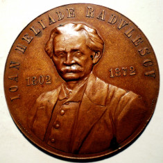 5.212 MEDALIE ROMANIA CENTENAR 1902 IOAN HELIADE RADULESCU 1802 1872 DIMITRESCU 53mm - Medalii Romania