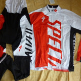 Echipament ciclism complet iarna toamna specialized rosu cu thermal fleece, Tricouri