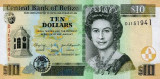 BELIZE █ bancnota █ 10 Dollars █ 2011 █ P-68d █ UNC █ necirculata