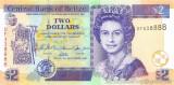 BELIZE █ bancnota █ 2 Dollars █ 2007 █ P-66c █ UNC █ necirculata