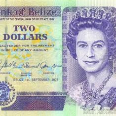 BELIZE █ bancnota █ 2 Dollars █ 2007 █ P-66c █ UNC █ necirculata - bancnota america