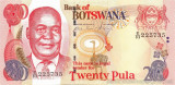 BOTSWANA █ bancnota █ 20 Pula █ 2008 █ P-25b  █ UNC █ necirculata