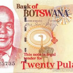 BOTSWANA █ bancnota █ 20 Pula █ 2008 █ UNC █ necirculata - bancnota africa