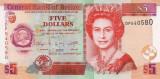 BELIZE █ bancnota █ 5 Dollars █ 2011 █ P-67e █ UNC █ necirculata