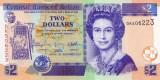 BELIZE █ bancnota █ 2 Dollars █ 2011 █ P-66d █ UNC █ necirculata