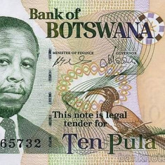 BOTSWANA █ bancnota █ 10 Pula █ 2002 █ P-24a █ UNC █ necirculata - bancnota africa