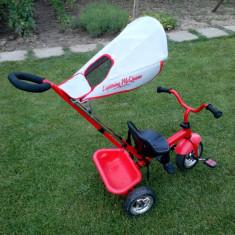 Vand tricicleta metalica, culoare rosie, calitate si robustete deosebite - Tricicleta copii, 2-4 ani, Unisex, Rosu
