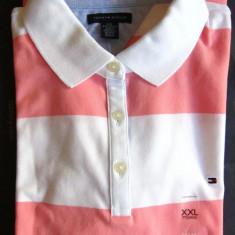 Tricou dama TOMMY HILFIGER, roz-alb, polo, masura XXL US, made in Vietnam, Culoare: Alta, Cu dungi, Maneca scurta, Casual
