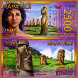 INSULA PASTELUI █ RAPA NUI █ bancnota 2500 Rongo 2011 █ POLYMER UNC necirculata