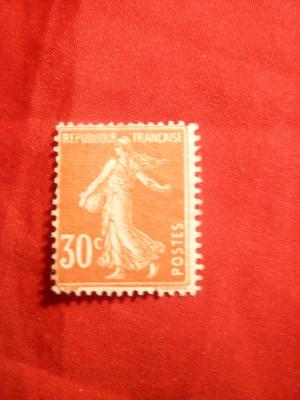 Timbru 30 C rosu-orange Semanatoarea 1907 Franta ,nestamp. ,sarniera foto