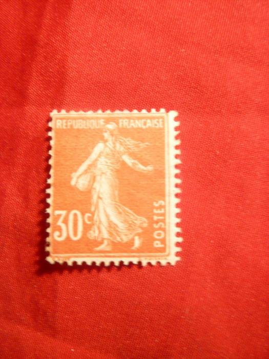 Timbru 30 C rosu-orange Semanatoarea 1907 Franta ,nestamp. ,sarniera
