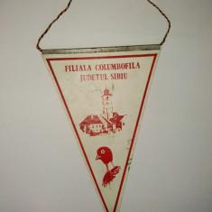 Fanion FILIALA COLUMBOFILA judetul Sibiu - Cluburile 32/4 si 32/10 - Expozitia nationala agrement 1986 Sibiu - Fanion fotbal