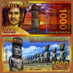 INSULA PASTELUI █ RAPA NUI bancnota █ 1000 Rongo 2011 █ POLYMER UNC necirculata