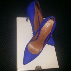 Pantofi Dama Stiletto, piele interior, exterior - Pantof dama Aldo, Culoare: Albastru, Marime: 37, Albastru, Cu toc