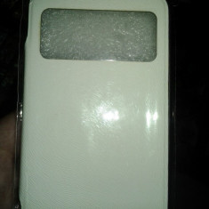 Husa de protectie ARMOR VIEW Alba pentru Samsung Galaxy S4 I9500 I9505 / Antisoc, protectie totala + functia S-View - Husa Telefon Accessorize, Piele, Cu clapeta