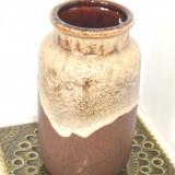 Vaza ceramica smaltuita fat lava - Glazura Volcano - marcaj Scheurich, W.Germany - Arta Ceramica