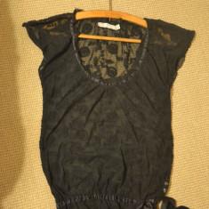 Bluza Neagra Transparenta Eleganta ZARA, M/L, Maneca scurta, Universala