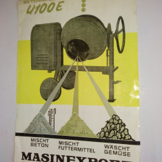 Reclama romanesca pentru Betoniera U100E ( in limba germana), anii '60 - Reclama Tiparita