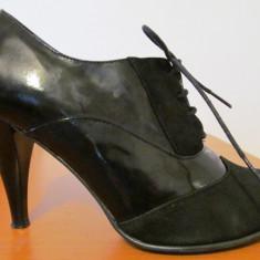 Pantofi dama Giulio nr. 38, piele naturala, fabricati in Italia - Pantof dama, Culoare: Negru, Negru