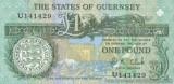 GUERNSEY █ bancnota █ 1 Pound █ 1991 █ P-52c █ UNC █ necirculata