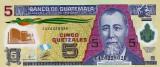 GUATEMALA █ bancnota █ 5 Quetzales █ 2011 █ P-122b █ POLYMER █ UNC █ necirculata