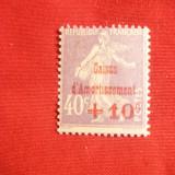 Timbru 40 + 10 C, violet Casa de Amortisment 1928 Franta, cu sarniera
